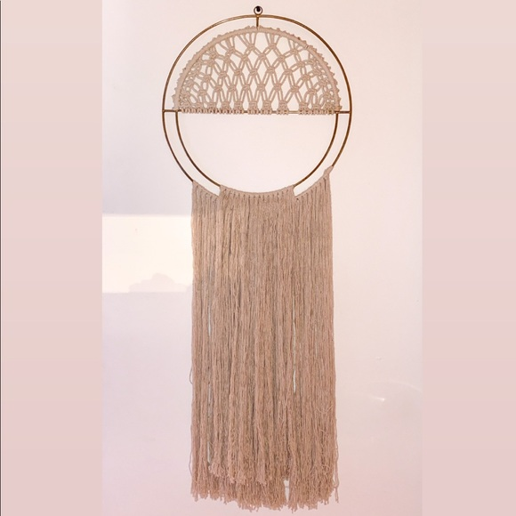 Urban Outfitters Other - Gold + Natural Macramé Hanging Wall Art Decoration